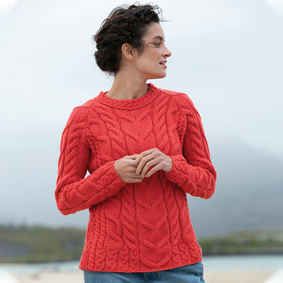 Crew Neck Sweater, Coral