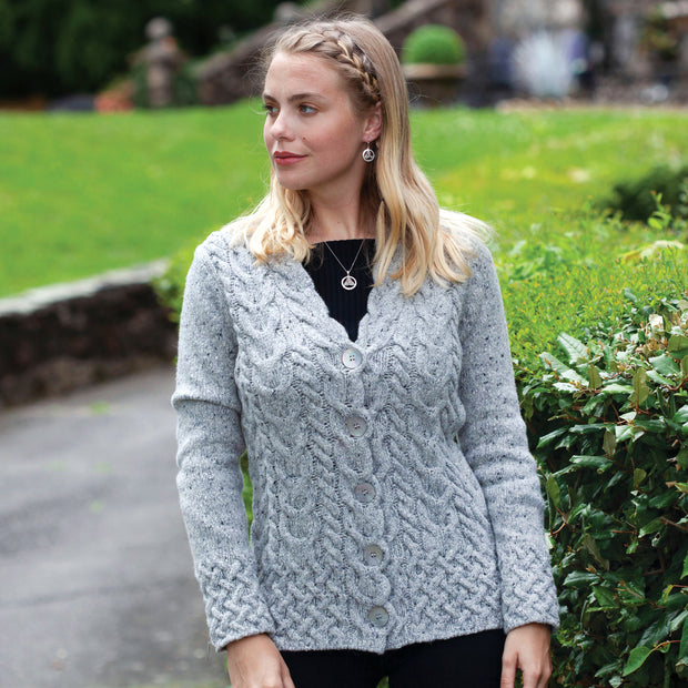Horseshoe Cable Cardigan, Grey