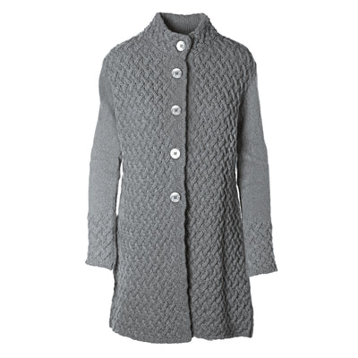 Trellis Sweater Coat, Light Grey