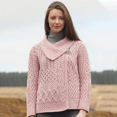 Side Button Cardigan, Dusty Pink