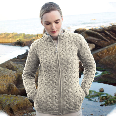Zip Up Super Soft Cardigan, Oatmeal