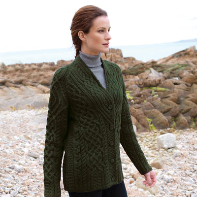 Shawl Collar Aran Cardigan