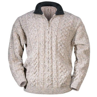 Worsted Wool Contrasted Collar Zipper