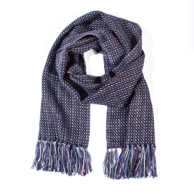 Navy Alpaca Dot Stripe Scarf