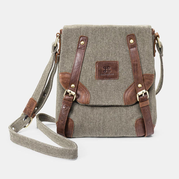 Tweed and Leather Crossbody Bag