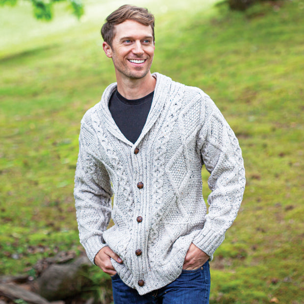 Men's Shawl Collar Cardigan, Oatmeal