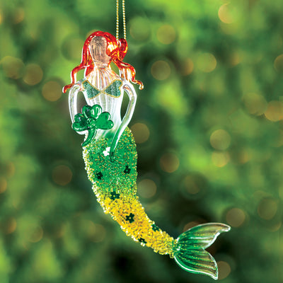 Glass Mermaid Ornament with Shamrock