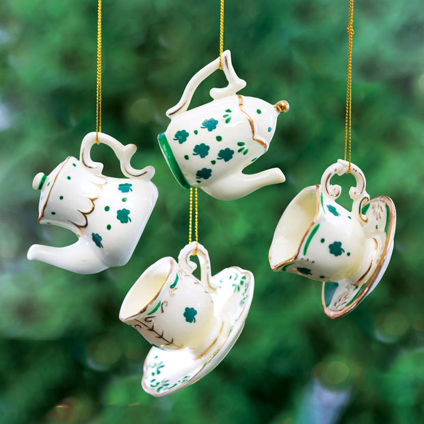 Tea Set with Shamrocks Ornament Set