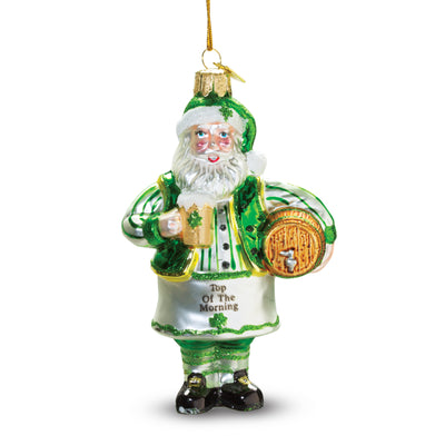 Glass Irish Santa with Beer Ornament