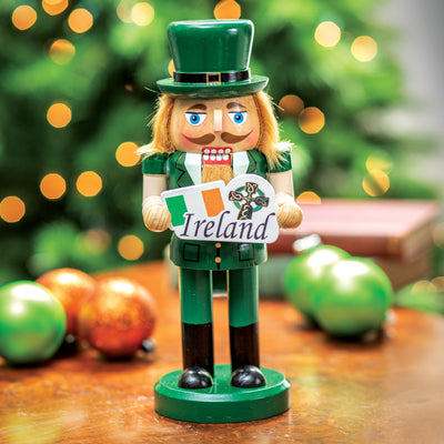 Irish Nutcracker Holding Flag