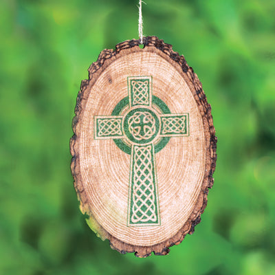 Celtic Cross Bark Ornament