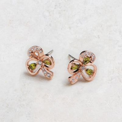 Maureen O'Hara Rose Gold Shamrock Earrings