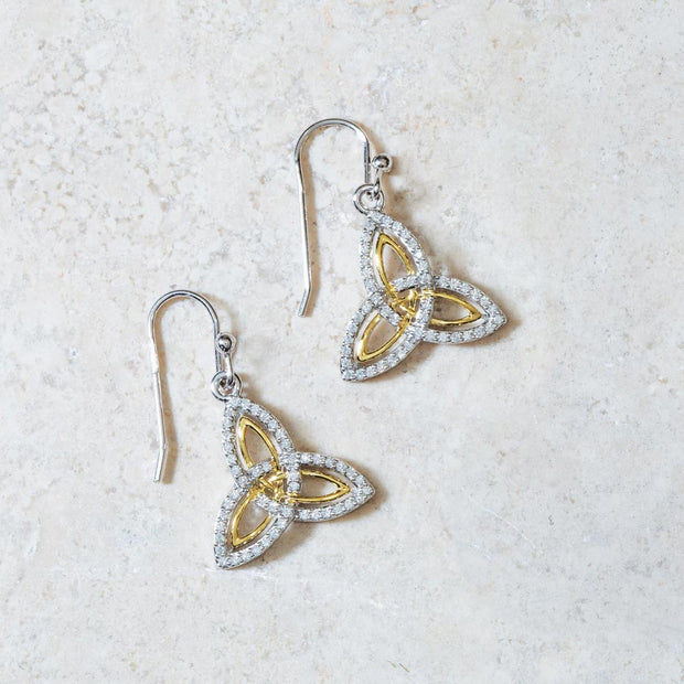 Two Tone Trinity Drop Earrings