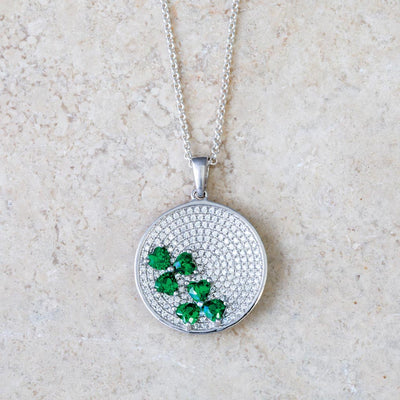 Pave Pendant With Emerald Shamrocks