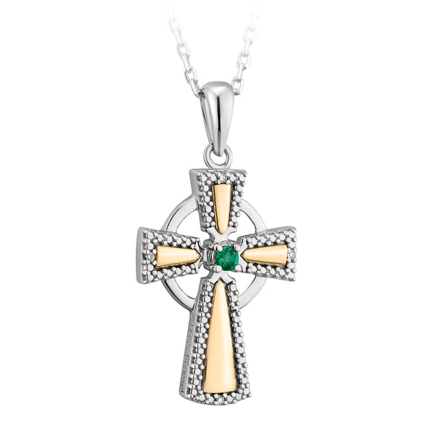 Gold and Silver Emerald Cross Necklace