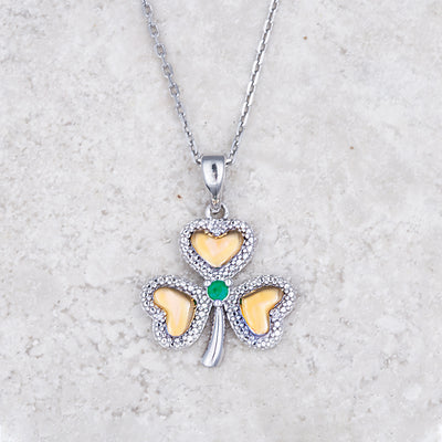 Gold and Silver Emerald Shamrock Necklace