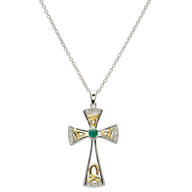 Celtic Trinity Emerald and Diamond Cross