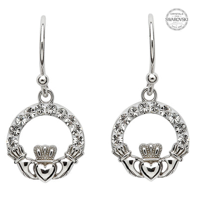 Claddagh Earrings Embellished With Swarovski Crystals