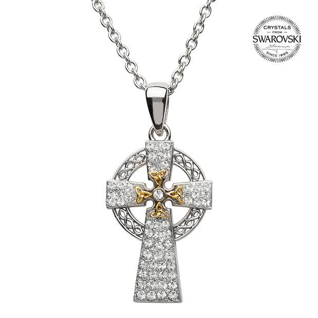 Silver Two Tone Cross Adorned With Swarovski Crystal