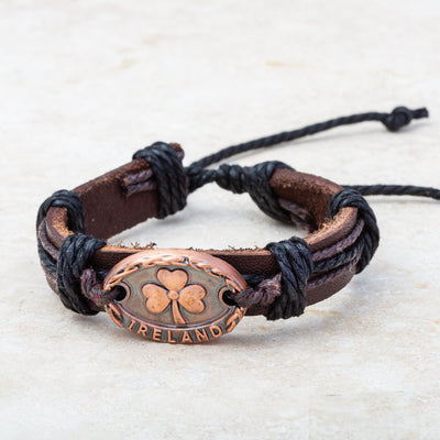 Leather Bracelet with Shamrock