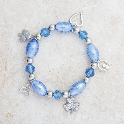 Blue Glass Irish Charm Bracelet