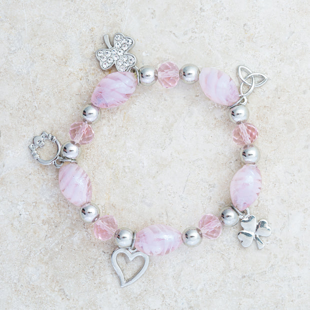 Pink Glass Irish Charm Bracelet
