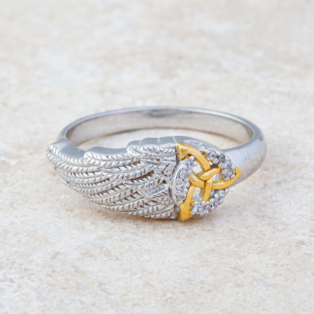 Trinity and Angel Wing Ring