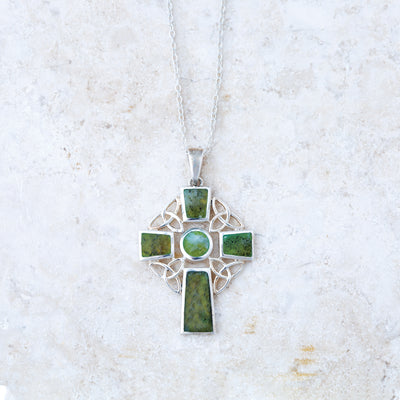 Connemara Marble Celtic Cross Necklace