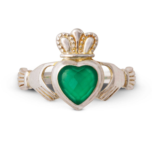 Claddagh Ring with Green Onyx Stone