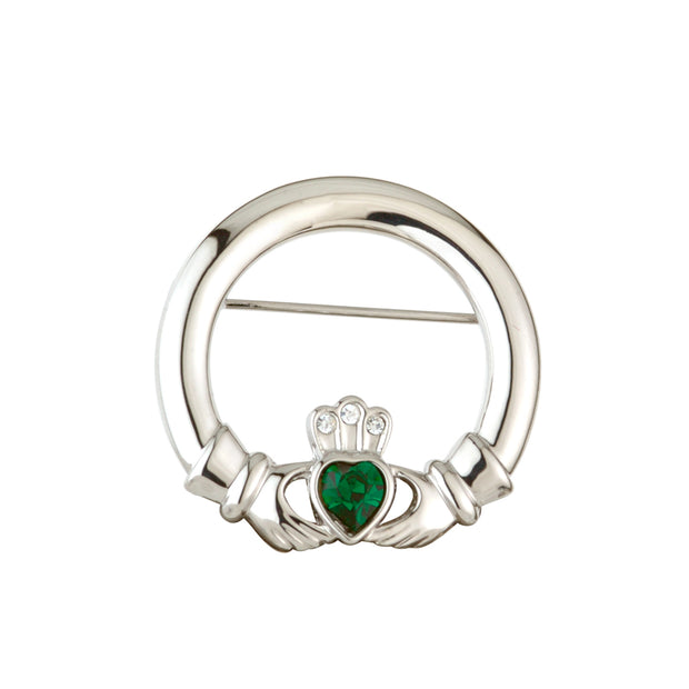 Claddagh Brooch with Green Crystal