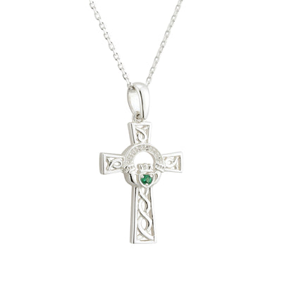 Claddagh Cross Necklace with Green Stone