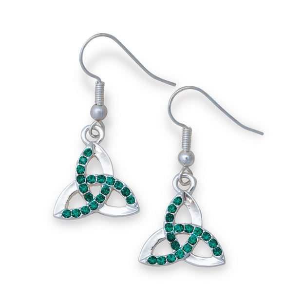 Trinity Earrings with Green Stones