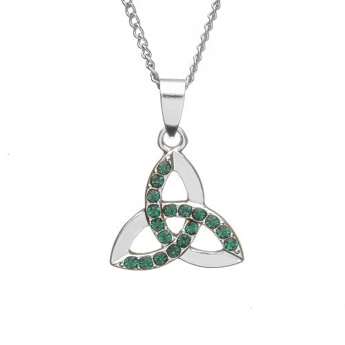 Trinity Necklace with Green Stones
