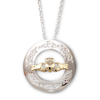 Two Tone Claddagh Necklace