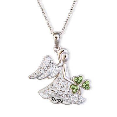 Guardian Angel with Shamrock Necklace