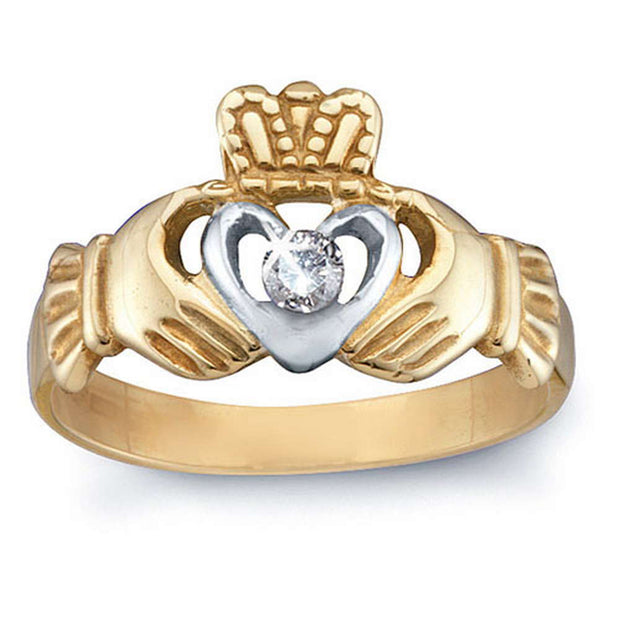 10 kt Gold and Diamond Claddagh Ring