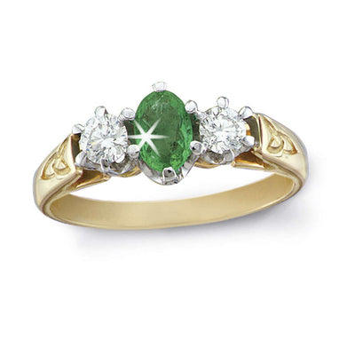 14 kt Gold Diamond and Emerald