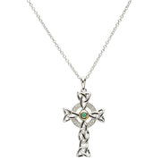 Celtic Trinity Diamond and Emerald Silver Cross Necklace