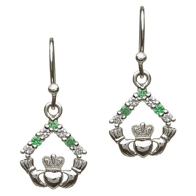 Emerald and Cubic Zirconia Claddagh Earrings
