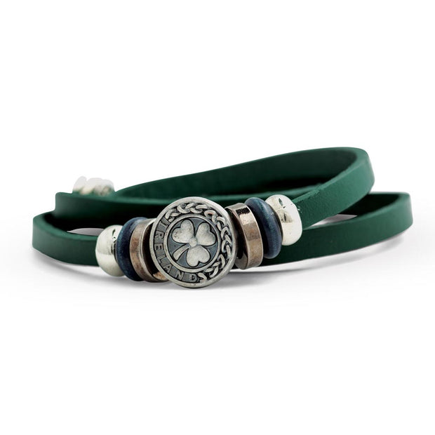 Shamrock Leather Wrap Bracelet