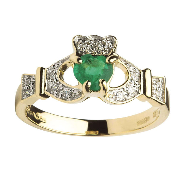 Claddagh Emerald and Diamond Yellow Gold Ring