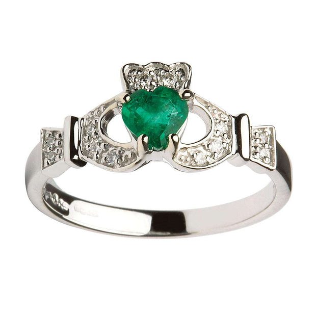 Claddagh Emerald and Diamond White Gold Ring