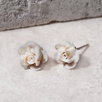 Belleek Rose Earrings