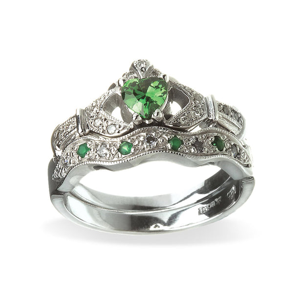 Emerald and Diamond Engagement with Wedding Band