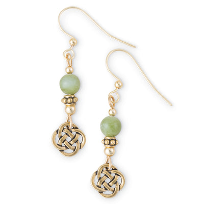 Connemara Earrings with Gold Celtic Knot