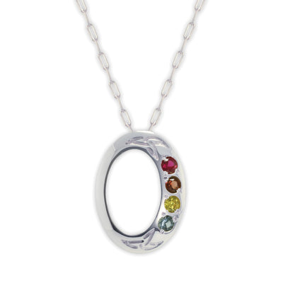 Family Birthstone Oval Pendant