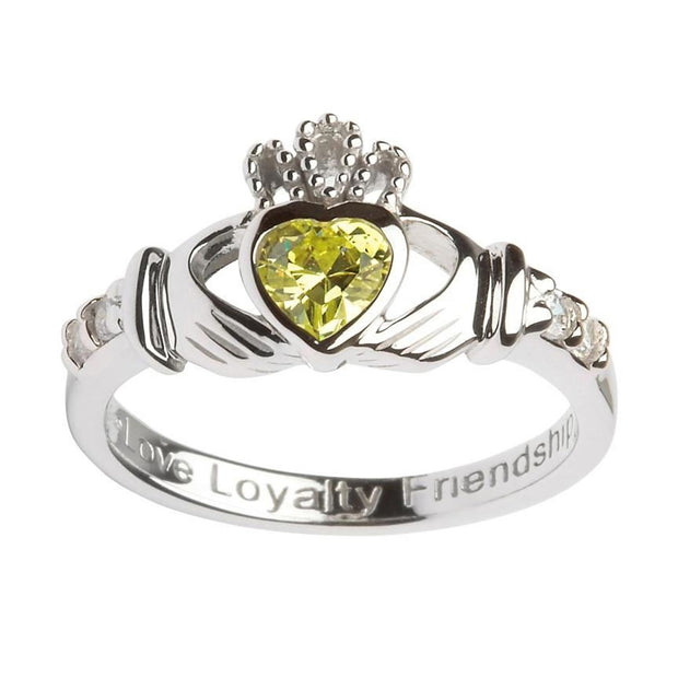 August Birthstone Claddagh Ring