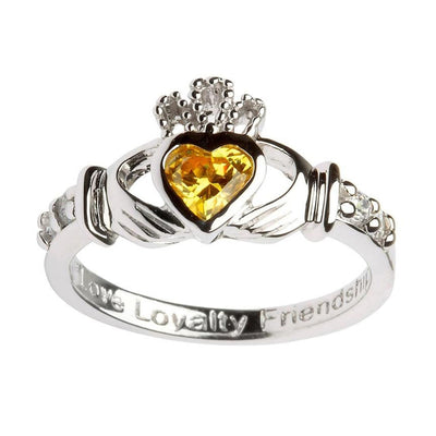 November Birthstone Claddagh Ring