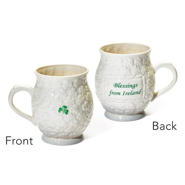 Belleek Shamrock Blessings Mug