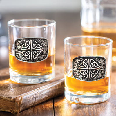 Embossed Pewter Whiskey Glass Set